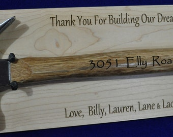 Gift For Home Builder ~ Contractor Gift ~ Realtor Gift ~ Gift For Construction Worker ~ Address Sign ~ Home Builder Gift ~ First Home Gift ~