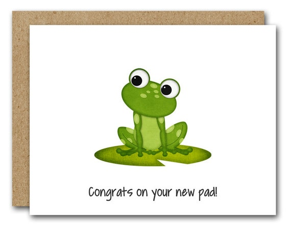 Printable New Home Card New House Card New Apartment Housewarming Card  Moving Card Frog Card New