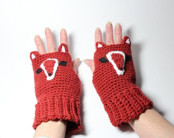 Fingerless Gloves, Fox Animal Mittens, Crochet Woodland Animal Mitts, Winter Wrist Warmers, Hand Warmers