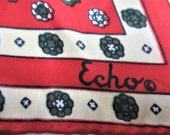 "Echo Scarf Silk Scarf Red Geometric Scarf Red White Blue Vintage Designer Signed Echo Scarf 21"" x 21"" Square Silk / Chinon Scarf"