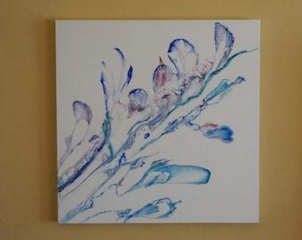 24X24in Acrylic Pour Painting on Canvas , Modern Art Abstract Painting, Original Abstract Acrylic Painting Fluid Acrylic