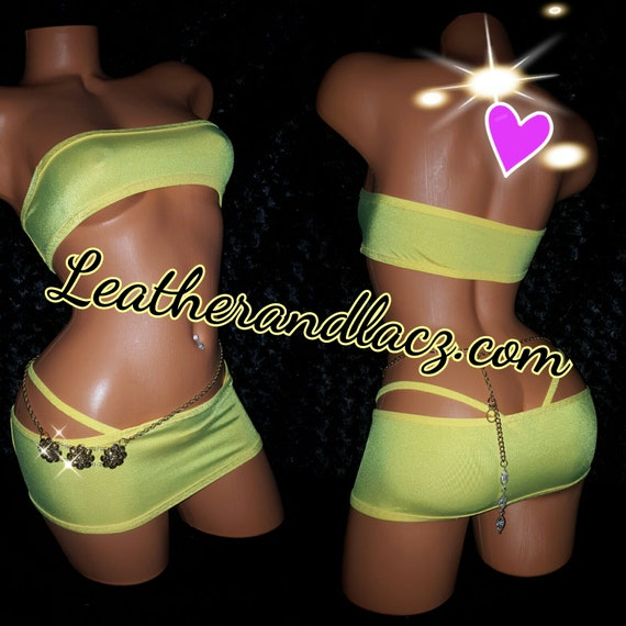 Tube Skirt, Exotic Custom Made Dancewear Mini Band Aid, Tube Top, Skirt, Thong, Stripper Outfit, Stretch, any color available