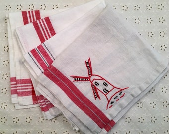 Vintage Linen Towels -  Cotton Linen with Red Border - Kitchen Towels - Cannon - Startex - Set of 4