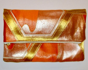Orange with Gold and Silver Hexagons Two-way Fold Over Obi Silk Clutch Purse