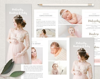 Client Welcome Guide - Maternity, Newborn and Baby Welcome Guide, 8.5 x 11 Trifold Brochure, Newborn Trifold Brochure, Maternity Trifold