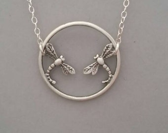 Sterling silver necklace dragonfly necklace dragonflies pendant circle necklace precious metals fashion jewelry