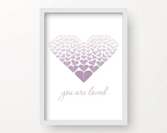8x10 Mauve Heart Digital Origami Print – You are loved