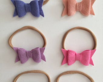 wool felt bow headband - your choice of color - READY TO SHIP