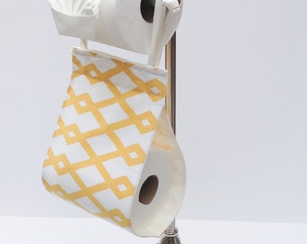 Fabric Toilet Paper Holder - fabric holder - bathroom storage - toilet paper hanger - fabric TP holder - Bathroom Organizer