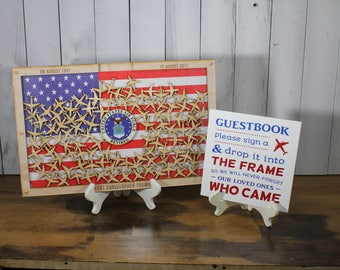 Personalized Guest Book/Flag/Air Force/Navy/Patriotic/Large/Military/Retirement/Guest Book/Wood Shape/Alternative/Stars
