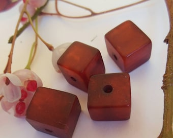 set of 4 Brown plastic rectangle shaped beads