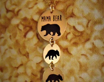 Mama And Baby Bear Necklace & Pendants In Rose Gold Filled Add a Baby Bear for each Child!
