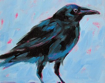 Crow - Black Crow - Bird Art - Paper - Canvas - Wood Block