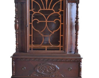 Antique Dome Top China Cabinet, Walnut, Circa 1920, 77″H, PA4899, SHIPPING NOT FREE!!!