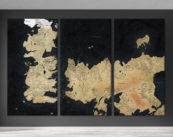 Game of thrones art Game of thrones map Game of thrones gift Thrones canvas Thrones wall art Thrones poster Game of thrones deco Thrones map