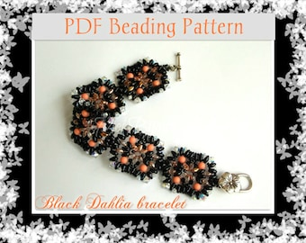 DIY Beading pattern Black Dahlia bracelet with superDuo or Twin beads / PDF tutorial with detailed instructions, images and diagrams