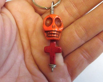Day Of The Dead Keychain Keyring Sugar Skull Orange Cross