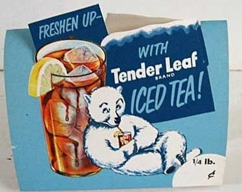 Pair of 1950's Diner Restaurant Advertising Decor Tenderleaf Tea Table Tents Polar Bear Mint