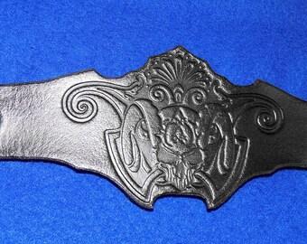 Leather Demon Skull Filigree Wristband