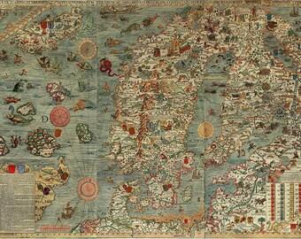 Map, World map, Antique world map, World map poster, Old World Map, Carta Marina, 17