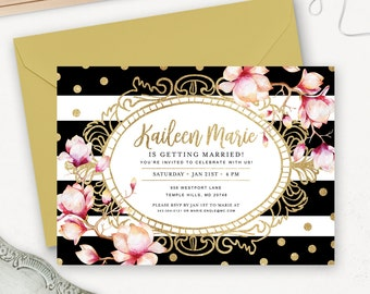 Printable Bridal Shower Invitation / Gold Bridal Shower Invite / Floral Bridal Shower Invitation Printable