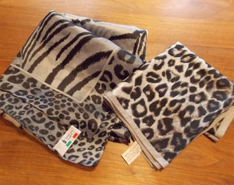 Lot 2 vintage animal print scarves, large Symphony leopard/tiger face print and all over animal print, polyester Glentex
