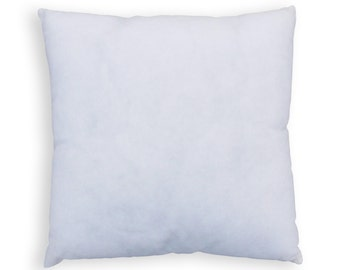 Pillow insert, square, non woven polyester cover with polyfibre filling, sizes offered are from 10X10 to 18X18 inches.