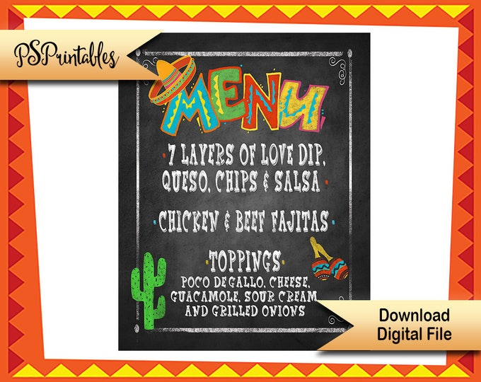 Fiesta Menu sign, DIY Printable Menu, Personalized menu, birthday fiesta sign, wedding fiesta, shower fiesta, DIY cinco de mayo menu