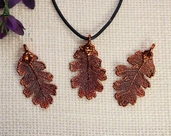 SALE Leaf Necklace, Copper Oak Leaf, Real Lacey Oak Leaf Necklace, Oak, Copper Leaf Pendant, SALE384