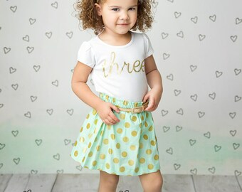 Girls Birthday outfit, 3rd birthday shirt, ANY AGE,  girls Birthday shirt and skirt, third birthday shirt, white and gold shirt