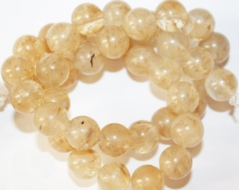 "Quartz  Beads - Round 10 mm Gemstone Beads - Full Strand 15 1/2"", 38 beads"
