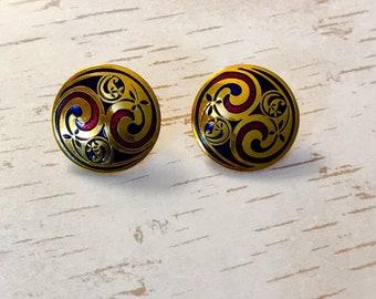 Vintage earrings Retro 1990's Celtic design  Past Times Scottish enamel clip on earrings - gifts for her
