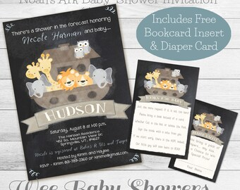 Noah's Ark Baby Shower, Chalkboard Baby Shower Invitation, diaper and book card combo