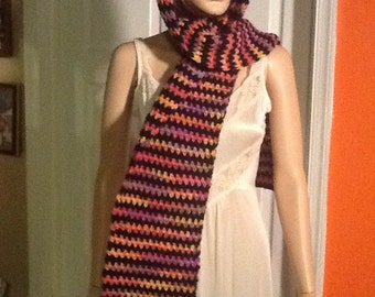Multi color extra long scarf - USA - OOAK