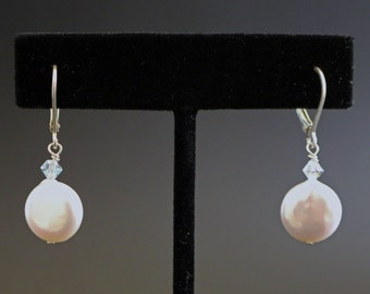 Coin Pearl and Sterling Silver Drop Earrings