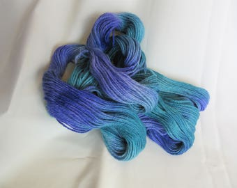 100% Alpaca - Hand Dyed/Painted - Sapphire Blue, Teal and Violet - 3 Ply DK Weight Yarn - 250 Yds - 12-14 WPI