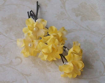 Small Yellow Flower Hair Pins - Set of Six Flower Bobby Pins