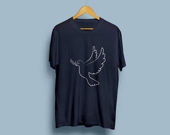 Navy Blue Dove of Peace Tee Shirt