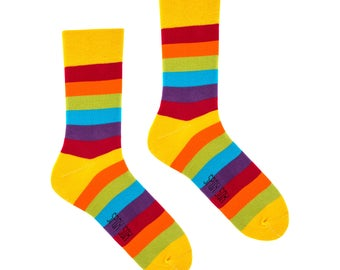 Rainbow socks | men socks | casual socks | cool socks | women socks | funny socks | patterned socks | colorful socks | cotton socks | happy