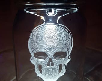 Skull Gifts for Him - Solar Mason Jar Light - Mason Jar Lantern - Indoor Decoration - Custom Etched - Skull Gifts For Him - Solar Light