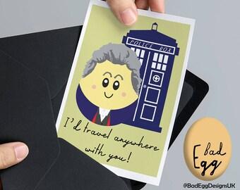 "BadEgg ""Time Traveller"" - Peter Capaldi Doctor Who Inspired TV Greetings Card by Bad Egg Designs UK"
