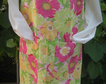 Gorgeous Tropical Flower On Pink Vintage Canning Apron (Large)