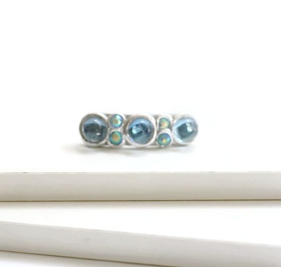 Sparkly Sapphire Blue Mini Hair Clips