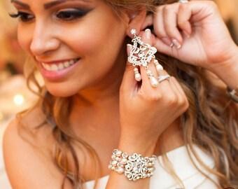 Pearl Bridal Bracelet and Chandelier Earring Set - Pearl Wedding Jewelry Set