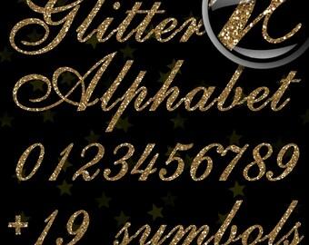 SALE! Gold Glitter Alphabet, Digital Glitter Alpha, Gold Digital Alphabet Letters, Gold Glitter Letters, Large Glitter Letters