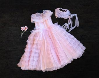 Vintage Girls Tulle Dress and Bonnet -  Size 2 - 3