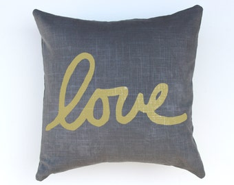 Gray and Gold Love Throw Pillow - Hand Lettered Love Pillow - Cursive Font Love Pillow - Nursery Decor