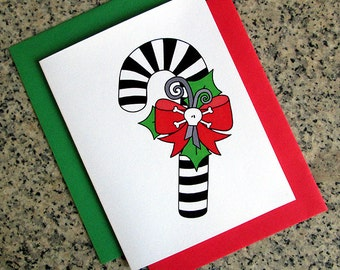 skull bow candy cane holiday christmas greeting cards / notecards / thank you notes (blank or custom inside) with envelopes- set of 10