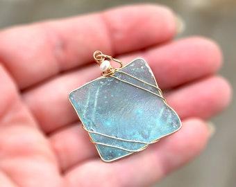 Square Roman Glass Pendant Gold Filled Roman Glass Pendant  Roman Glass Jewelry Handmade Aquamarine Necklace Pendant Free Shipping Israel