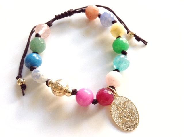 Archangel michael bracelet gold filled beaded bracelet st zoom aloadofball Image collections